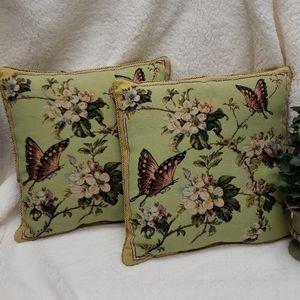 Green Butterfly Throw Pillows 2